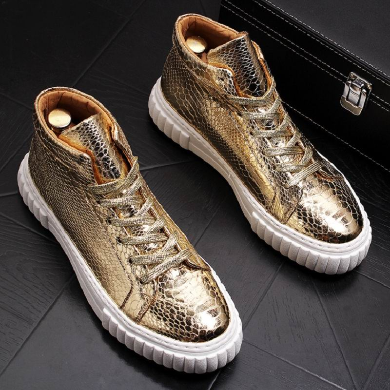 ERRFC New Arrival Luxury Men High Top Casual Comfort Shoes Fashion Forward Python Sneaker Pattern Gold