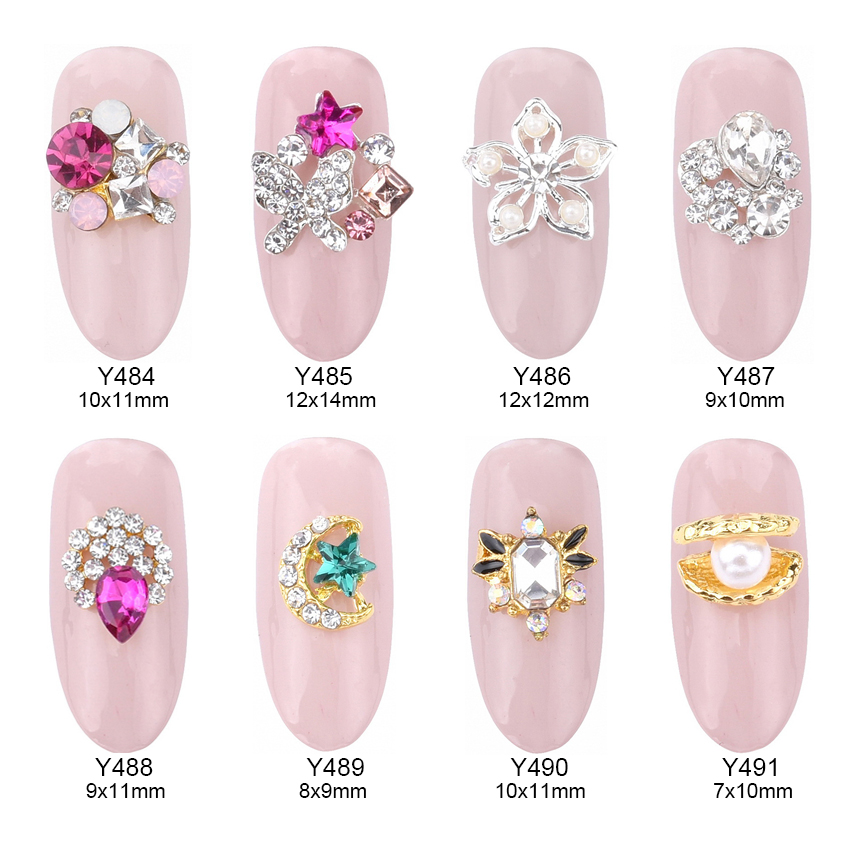 10pcs alloy glitters nail gems drop strass nail art gold Clamshell autocollant para unha arte moon star jewelry nails Y484~491 10pcs strass unha rhinestones alloy nail decoration 2017 new style jewelry nails 3d nail art 5 colors supplies y1000