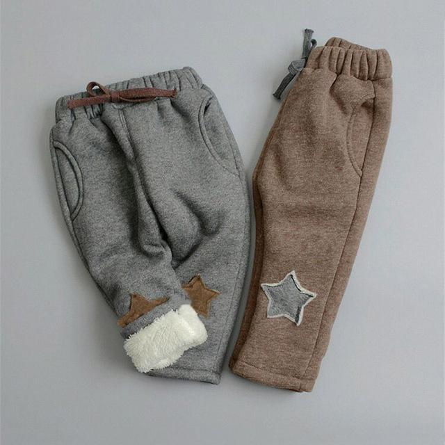 BibiCola boys pants new winter kids thicken pants children boy casual warm cashmere velvet trousers for baby boys leggings