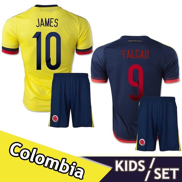 ba5a884a2 2015 2016 Colombia Home Away kids youth kits suit soccer Jersey JAMES  FALCAO GUARIN CUADRADO AGUILAR children set football Shirt