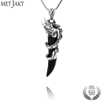MetJakt Punk Dragon Pendant with Agate Solid 925 Sterling Silver Pendant Necklace and 16-32 Inches Snake Chain