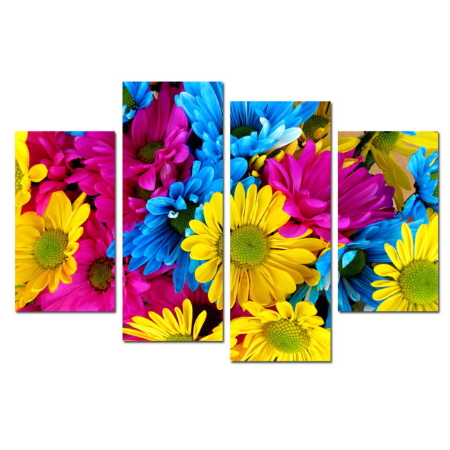 FREE SHIPPING Modern Painting Artwork Bright Color Flowers Dropship Print Canvas 4Panel For Living Room Wall