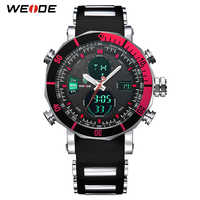 WEIDE Luxury Brand Analog Sports Digital Display Date Men's Quartz Business Silicone Belt Watch Men Wristwatch Relogio Masculino
