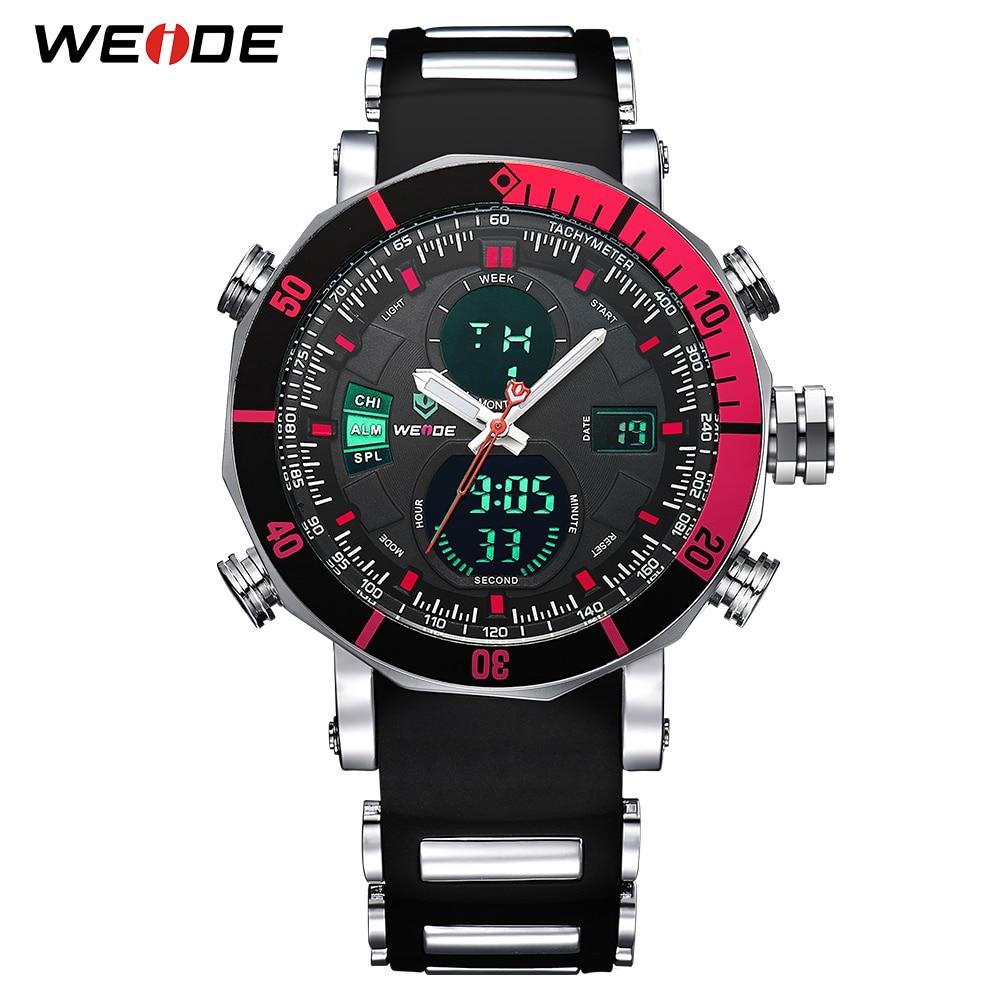 WEIDE Top Brand Watch Men Sports Series Luxury Logo Multi-functional Analog Quartz Digital Alarm Stopwatch Big Clock For Man