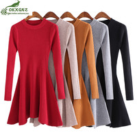 High Quality Take Knit Dress Autumn Winter Female Students New Fashion Sexy Slim Base Long Sweater