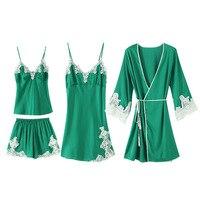 Green Sexy Lace Trim Sleepwear 4PCS Home Wear Satin Pajamas Suit Cami&Robe&pant Sleep Set Kimono Bathrobe Gown Wedding Nightgown