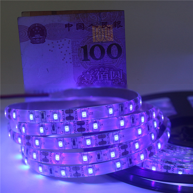 12V Ultraviolet UV LED Blacklight Strip Waterproof IP65 Night Fishing 395nm 60leds/m 2835 SMD White / Black PCB LED Strip Lights