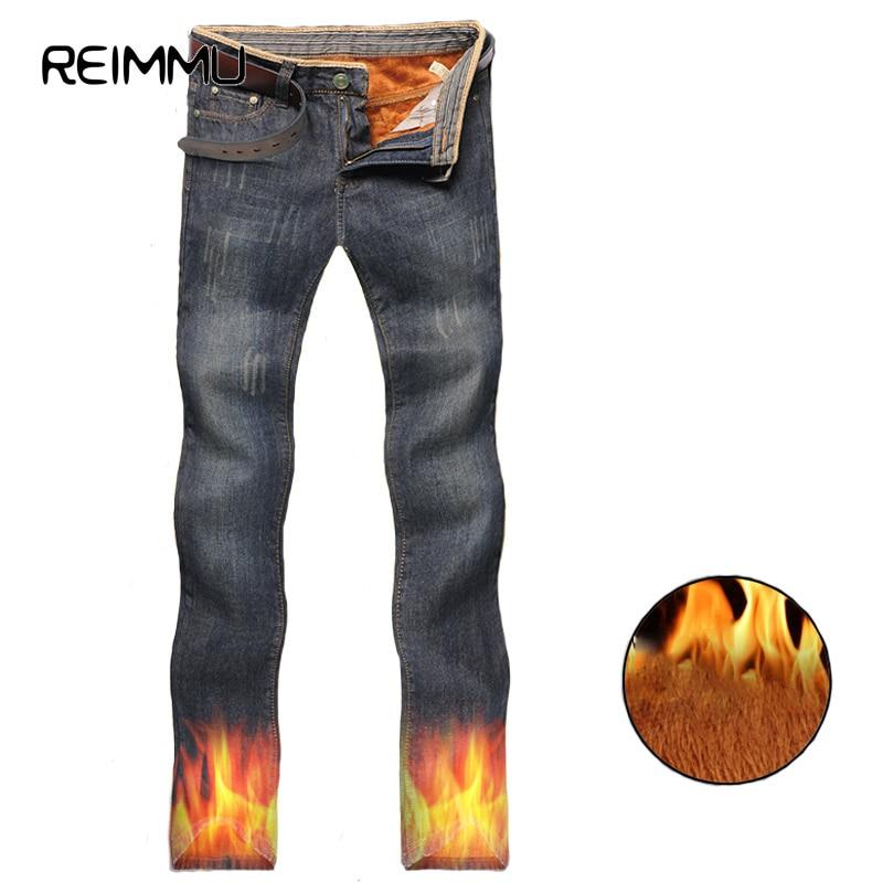 Reimmu Warm Jeans Men Winter Fashion Brand-Clothing Slim Fit Jeans Male Clothes High Quality Casual Men Jeans Warm Pants Sale aismz new high quality jeans men casual fashion trouser slim fit ankle length scratched denim pants male brand clothing 60006