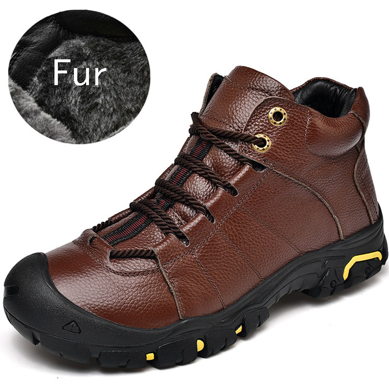 Winter Men Boots Genuine Leather Men's Shoes High Top Sneakers Non-slip Waterproof Ankle Snow Boot Outdoor Male Shoes Adult
