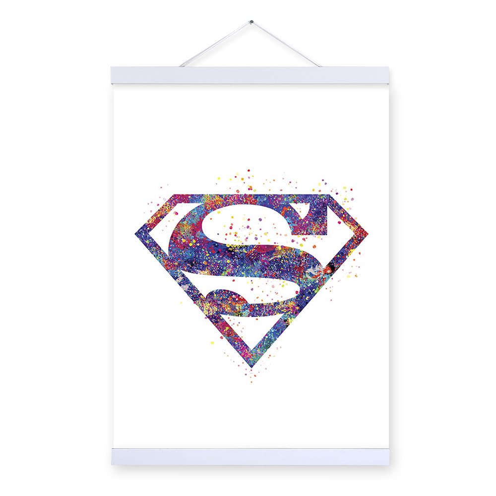 Original Watercolor <font><b>Superman</b></font> Hero <font><b>Logo</b></font> Movie A4 <font><b>Poster</b></font> Print Abstract Shape Picture Home Wall Art Decor Canvas Painting No Frame image