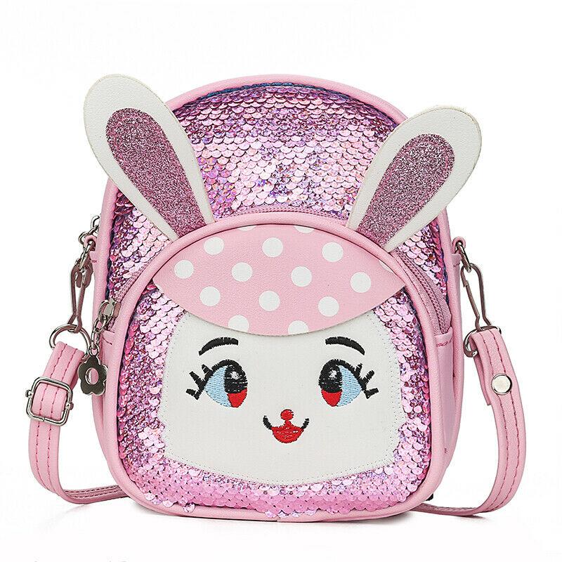 Cute Baby Sequins School Bag Cartoon Animal Bunny Girl Backpack Fashion Flash Mini Shoulder Bag