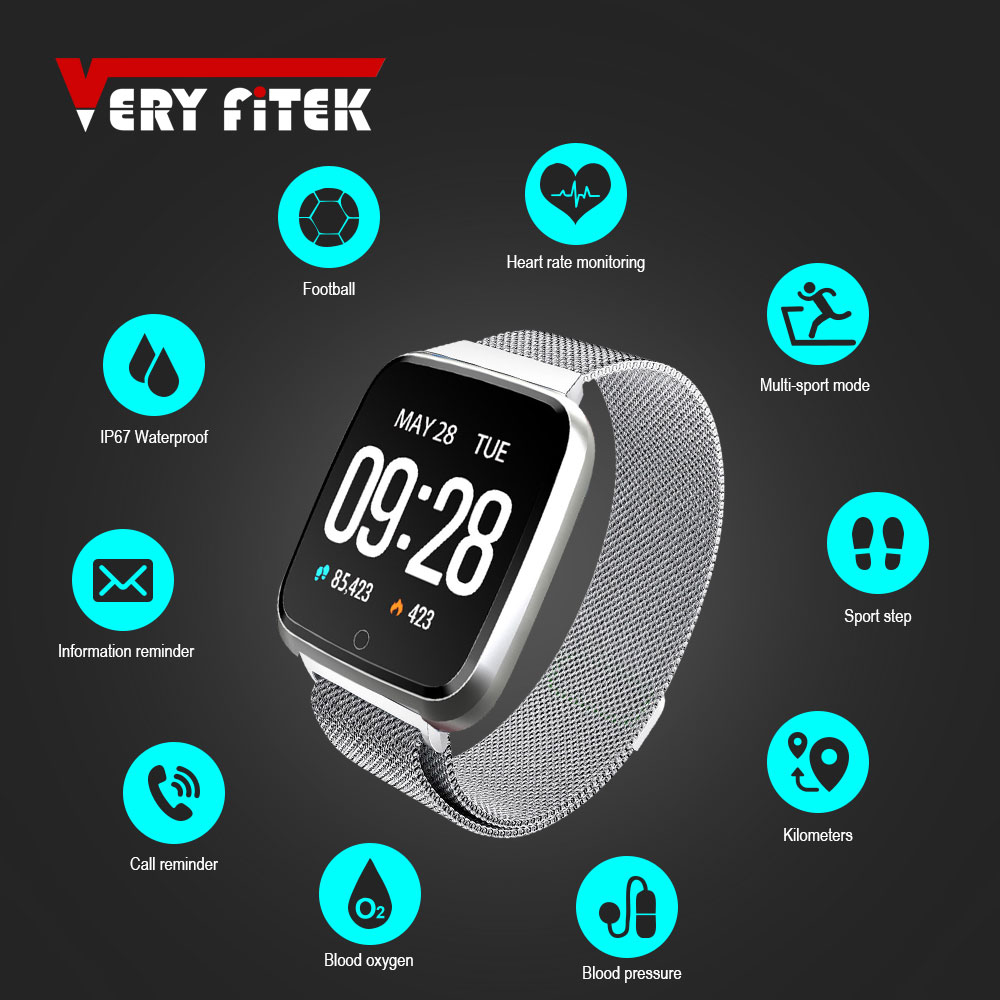 VERYFiTEK <font><b>Y7</b></font> Smart watch Blood Pressure Heart Rate Monitor Fitness Tracker Waterproof Women Men Clock <font><b>Smartwatch</b></font> For Android IOS image