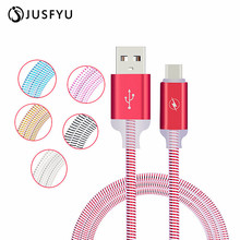 JUSFYU LED Lumines USB Cable For iPhone X 8 7 6S Plus 5S SE 5 Charging For Xiaomi mi8 Charger Cable Mobile Phone Cables  Mobile