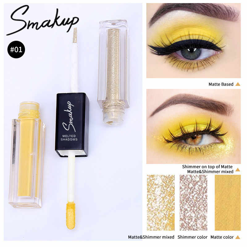 Kuning Double Liquid Eye Shadow Brightening Eye Shadow Tahan Lama Matte Shimmer Eyeshadow Diamond Mutiara Makeup Mata