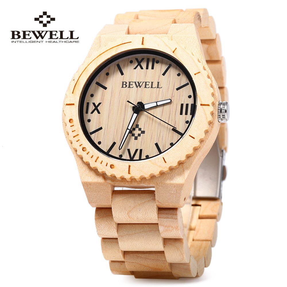 Hot Fashion Bewell Men Watch Design Wood Watch Japanese Quartz 2035 Movement Wooden Wristwatch Relogio Masculino bewell natural wood watch men quartz watches dual time zone wooden wristwatch rectangle dial relogio led digital watch box 021c