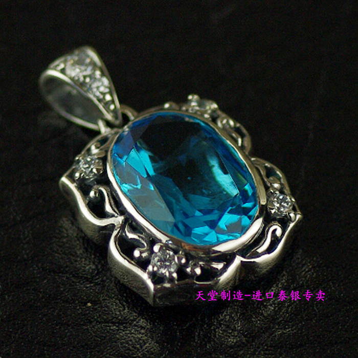 Thailand imports, girls retro 925 Sterling Silver Pendant inlaid Zircon