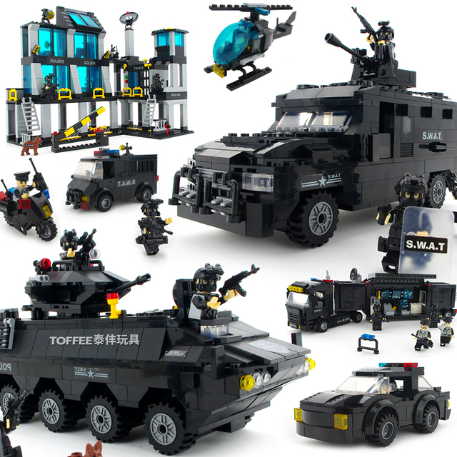 City Police SWAT Station Helicopter armored car Building Blocks fit legoingly Construction Brick children kids toys set boy gift