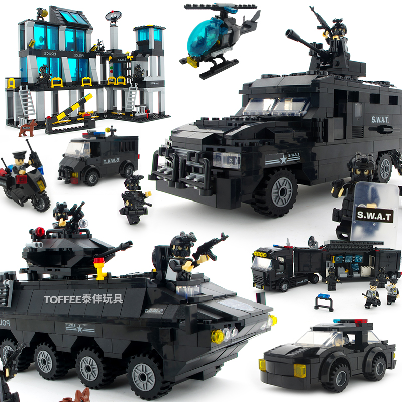 MOC City Police Armor SWAT Helicopter Armoured Riot Vehicle Car Truck Assemble Building Blocks Brick Kids Toys Boy Birthday Gift