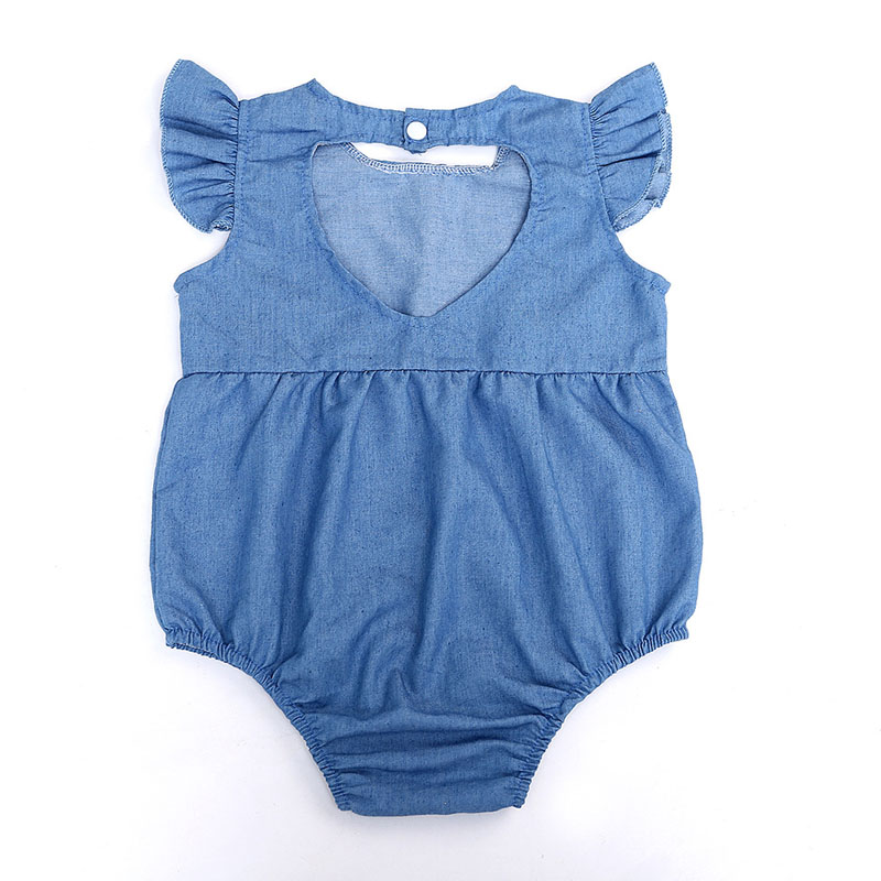 2017 Summer Newborn Toddle Baby Kids Girls Children Cowboy Clothes Back Hollow Love Shaped Romper Jumpsuits Bodysuits