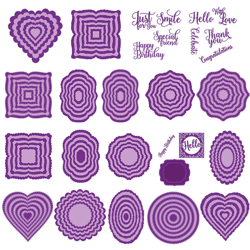 2019 July Core Frame Dies Stitched/Scalloped/Torn-Edge-Oval/Circle/Square/Heart Metal Cutting Dies for Scrapbooking and Cards
