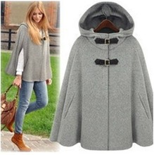 Euramerican Star Street Wind Fashion Women's Winter Outwear Solid Color Elegant Hooded Cape Coat Batwing Sleeve Woolen Jackets