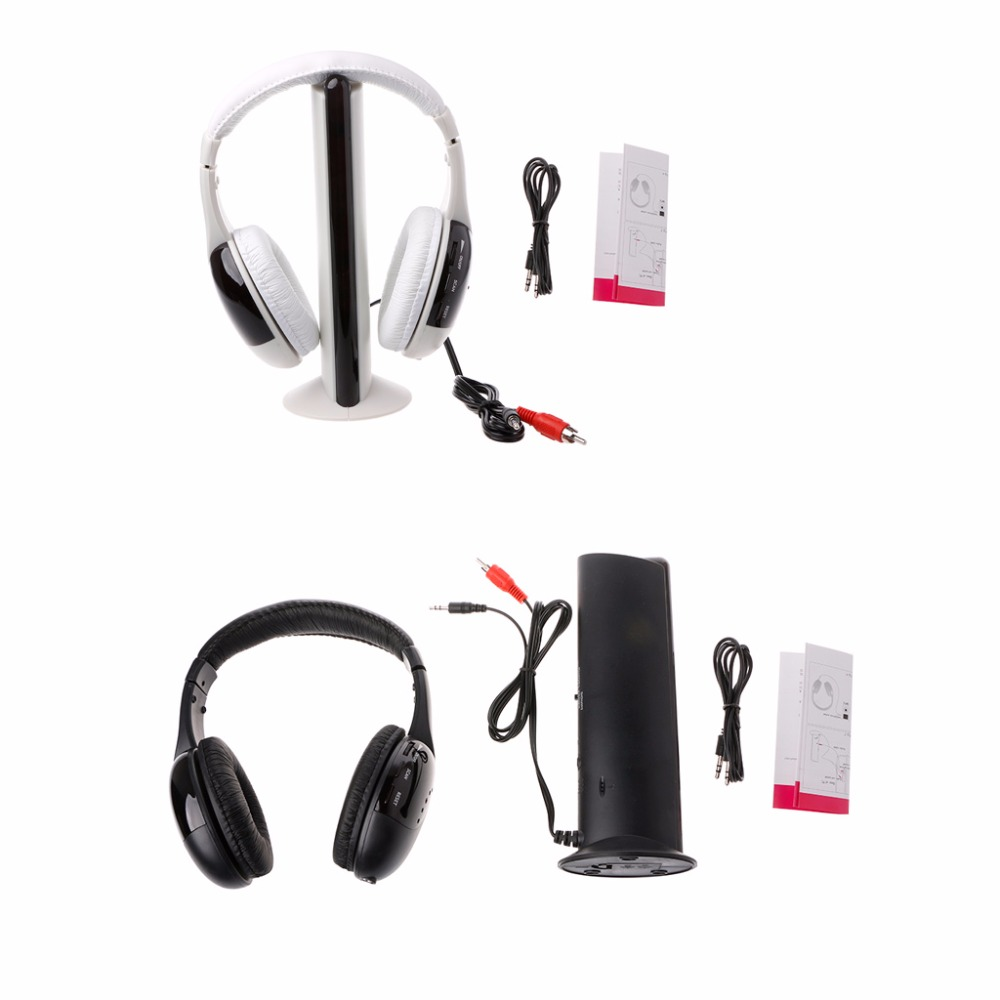 New Stylish 5 in 1 Hi-Fi Wireless Headset Headphone Earphone for TV DVD MP3 PC hot 5 in 1 wireless stereo headset headphone transmitter fm radio for tv dvd mp3 pc l060 new hot
