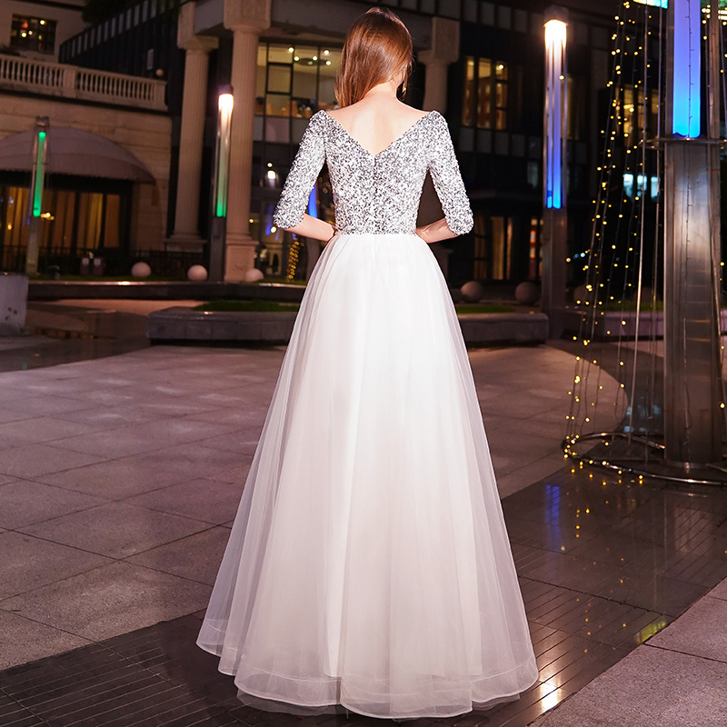 Image 2 - weiyin White A line Long Evening Dresses V neck Half Sleeves Floor Length Sequined Evening Dress Formal Party Dress Prom Dress-in Evening Dresses from Weddings & Events