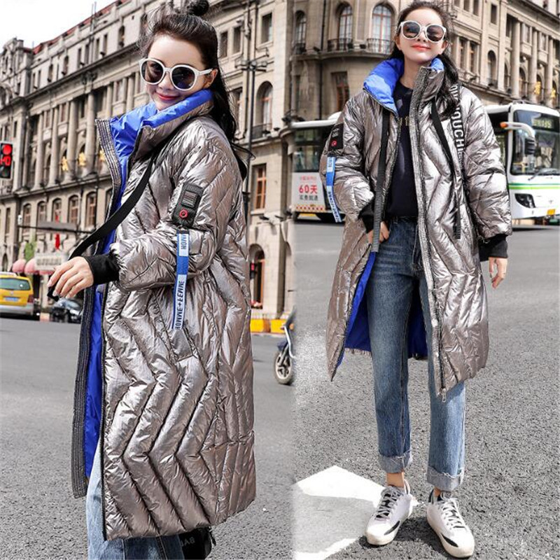 Fashionable bright 2018 Women Cotton Jacket For Glossy Shiny Line Long Winter Warm Stand Collar Zipper Fashion Silver   Parka