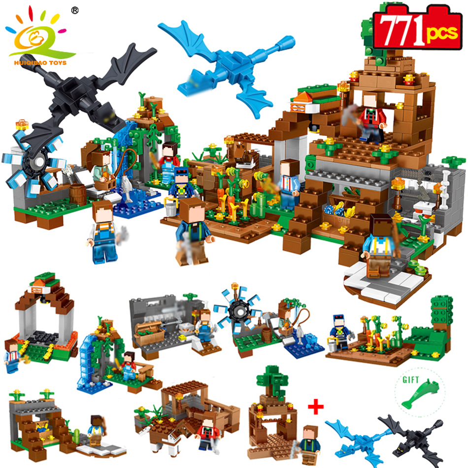 HUIQIBAO TOYS 771pcs 8in1 Minecrafted Manor Estate House My World Model Building Blocks Bricks Set Compatible Legoed City Friend 771pcs 8in1 minecrafted manor estate house my world model building blocks bricks set compatible legoed city boy toy for children