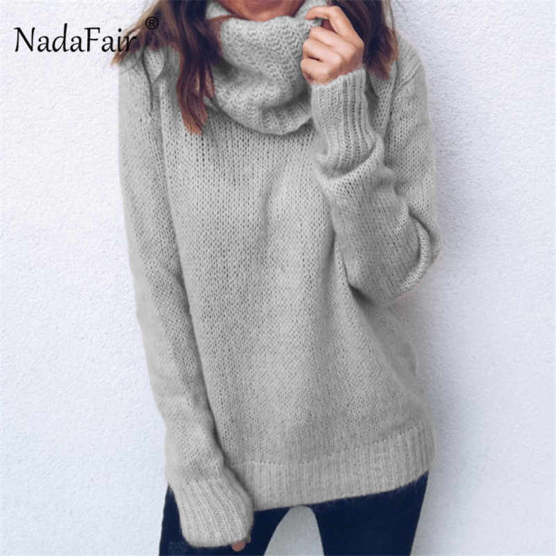 78a7b0b080 Nadafair Autumn Winter Sweater Women Red Black Long Sleeve Knitted Sweaters  Pullover 3XL Plus Size Turtleneck