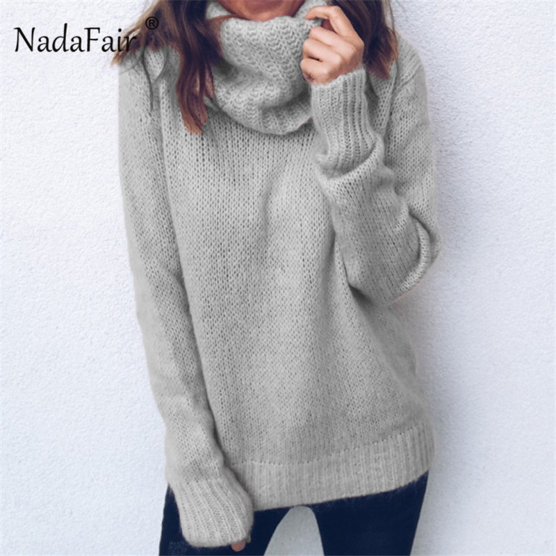 Nadafair Autumn Winter Sweater Women Red Black Long Sleeve Knitted Sweaters Pullover 3XL Plus Size Turtleneck Sweater Female