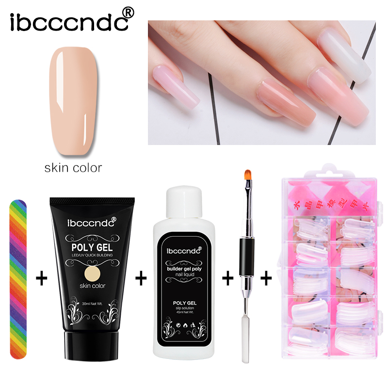 Nail Art Set of Poly Gel 30g Polygel Liquid Slip Solution Nail Form Modle Tips Dual Use Brush Nail Tools Quick Extension Gel Kit