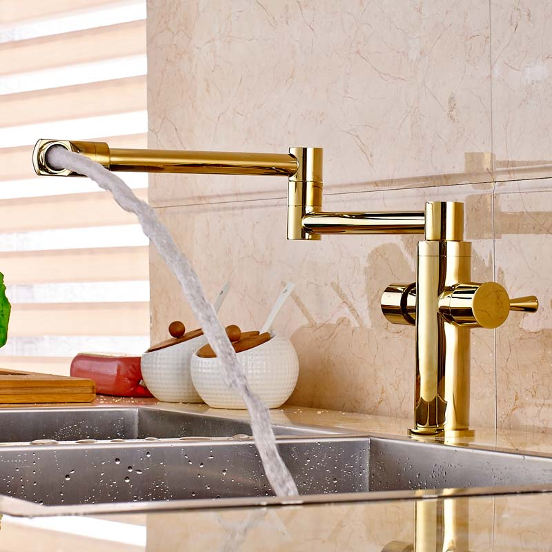Luxury Brass Gold Finished Deck Mounted Kitchen Sink Faucet Two Handles Swivel Spout Mixer Tap antique brass swivel spout dual cross handles kitchen