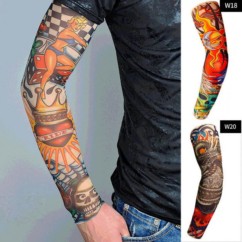 1PC Men Women 3D Creative Tattoo Sleeve Elastic Fake Temporary Arm Cuff Sleeves Over Sleeve Sun Protection Gloves Funny New