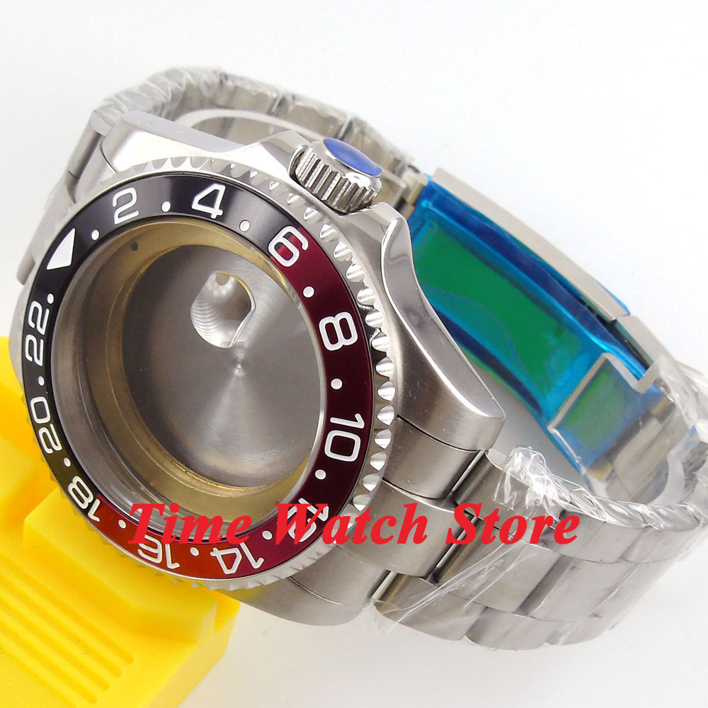 43mm Sapphire glass black red bezel Watch Case with bracelet fit ETA 2836 MIYOTA 8215 Mingzhu 2813 Automatic movement 57 цена