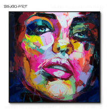 Professional Artist Hand-painted High Quality Colorful Abstract Figures Oil Painting on Canvas Rich Colors Knife Face