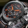 OCHSTIN Marca New Fashion Casual Man Masculino Calendário Relógio Militar Do Exército Esporte GQ055 Leater Strap Relógio de Pulso de Quartzo de Luxo