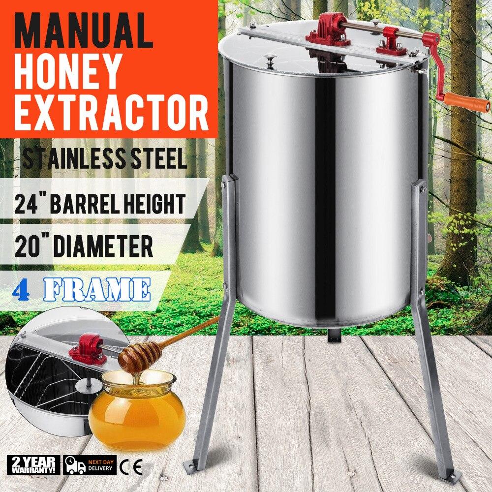 4 Frame Honey Extractor Stainless Steel Beehive Drum Tank Bee Equipment