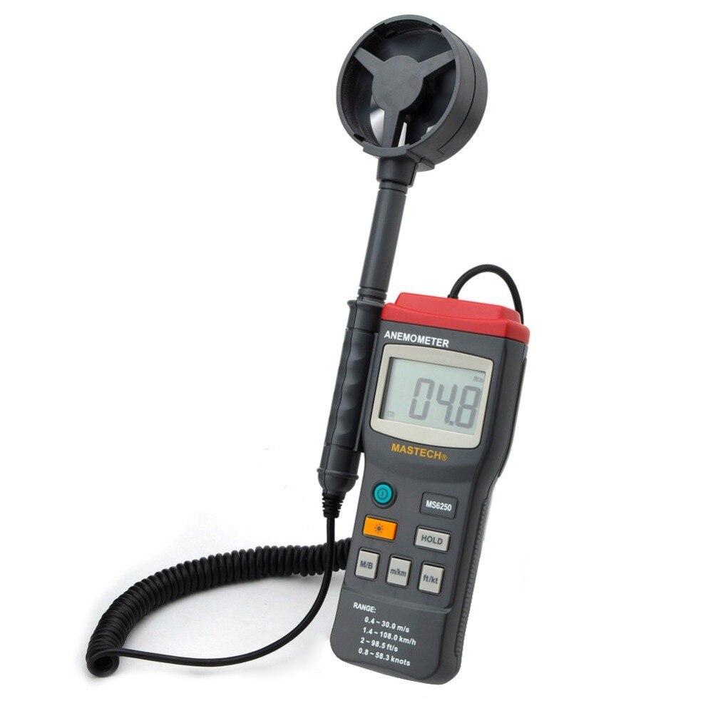 MASTECH MS6250 Digital Anemometer Air Velocity Wind Speed Meter Gauge Tester w/ LCD Backlight eam02 lcd backlight bside digital anemometer air velocity volume wind speed area meter gauge tester meter