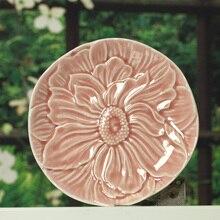 Exotische rund ceramic disc/Kreative obst dessert teller/home dekor erleichterung lotus gerichte 16,5 cm durchmesser