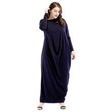 18523301 Middle East Plus Size Muslim Clothing Loose Big Yards Long Sleeve Solid Dress Mujer Abaya Musulman Vestidos