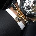 Новый 8 мм Титана Стали Шарик & Сглаза Фатима Рука Хамса браслеты 10 мм Проложить Параметр Черный CZ Сглаза Резиновые Мужчины Браслеты