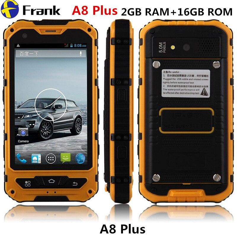 Цена за 2 ГБ RAM + 16 ГБ ROM Оригинальный A8 IP68 прочный Водонепроницаемый телефон MTK6582 Quad Сердечники Android 4.4.2 3 Г GPS Пыле Противоударный телефон