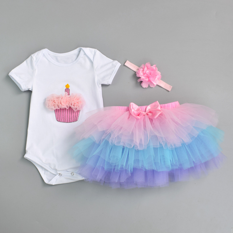 Newborn 2018 Flower Party Clothes Set Baby Girl One Years First Birthday Tutu Outfits for Girls Tulle Toddler Baby Clothing Suit 9 colors newborn baby girls handmade soft tulle tutu skirt head flower outfits photography props birthday photo shoot gift t1
