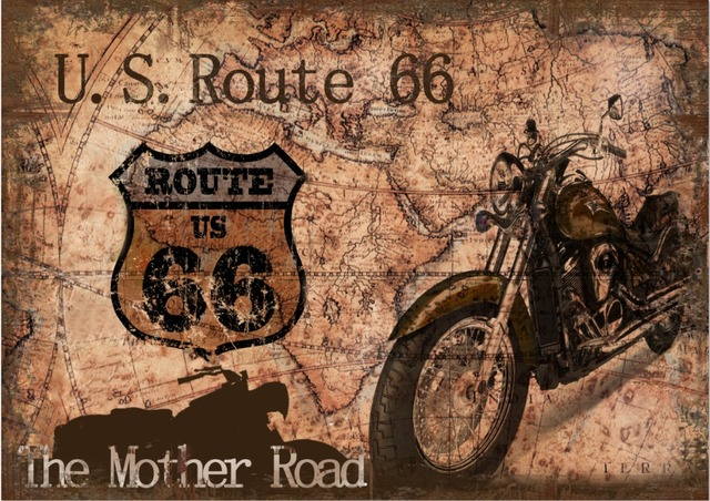 7x5FT Vintage Retro Motorcycle Motor Route 66 Map Mother