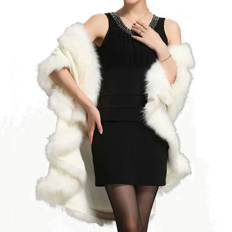 Chic Woman Long Faux Fox Fur cloak Cashmere Shawl Winter   Scarves     Wraps   Mink Fur Cape Shawls Basic shawls   wraps   Party Cardigan