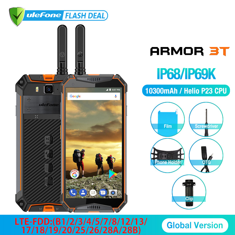 "Ulefone Armor 3T IP68 Waterproof Mobile Phone Android 8.1 5.7"" FHD+ Octa Core 4GB+64GB 21MP 10300mAh Walkie Talkie Smartphone"