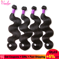 Vanlov Malaysian Body Wave Hair Bundles 100% Human Hair Weaving Non Remy Natural Color Jet Black Hair Extension 1/3/4 Bundles