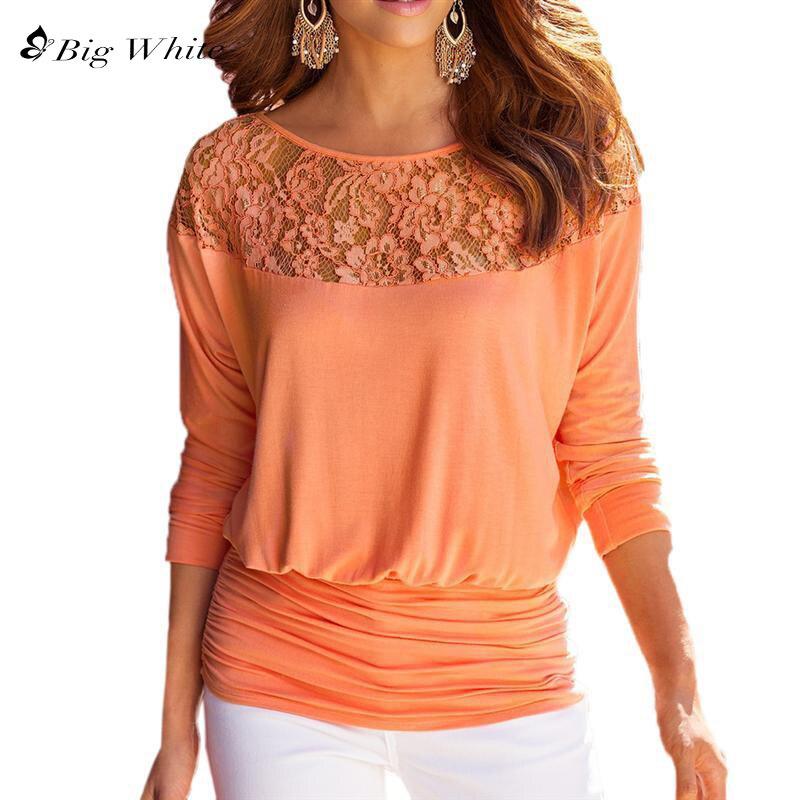 Žene Čipka šivanje šifon bluze labav tip Slash vrat majice - Ženska odjeća - Foto 1