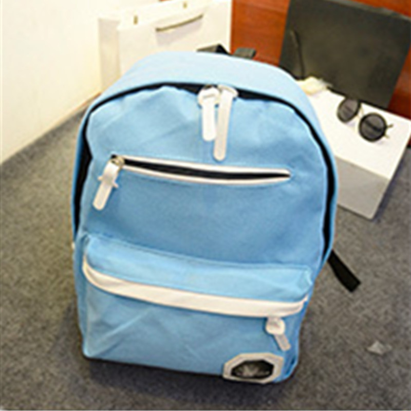 High Quality Casual Schoolbag Canvas Backpacks Light Blue Traveling Backpacks Adjustable StrapsHigh Quality Casual Schoolbag Canvas Backpacks Light Blue Traveling Backpacks Adjustable Straps